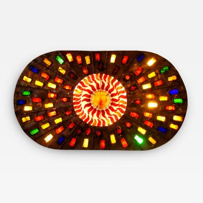 Felipe Derflinger A Rare And Monumental Size Copper and Hand Blown Glass Illuminated Wall Panel