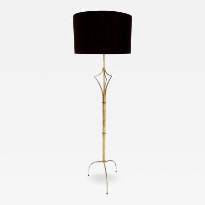 Felix Agostini French Gilded Iron Floor Lamp in the manner of Felix Agostini