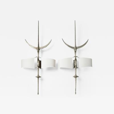 Felix Agostini Hallebarde Pair of Nickeled Bronze Sconces