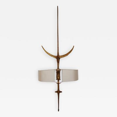 Felix Agostini High Sculpted Bronze Wall Sconce by Felix Agostini 1960s