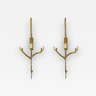 Felix Agostini Pair of French Post War Gilt Bronze Single Arm Wall Sconces