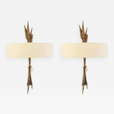 Felix Agostini Pair of bronze wall lights by F lix AGOSTINI 1960