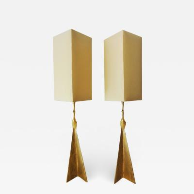 Felix Agostini Pair of gilt bronze peacock lamps by Felix AGOSTINI 1960s
