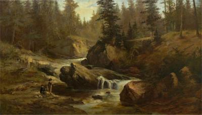 Feodor von Luerzer Lester River Duluth 1890 Landscape Painting by Feodor von Luerzer