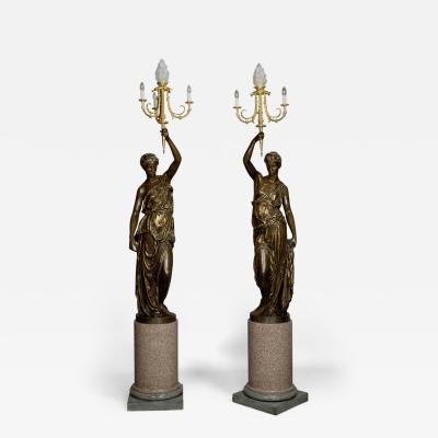 Ferdinand Barbedienne A Large Pair of Bronze Figural Candelabra