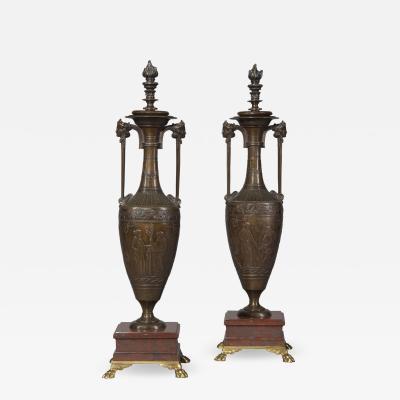 Ferdinand Barbedienne A Pair of Classical Revival Bronze Vases