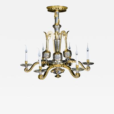 Ferdinand Barbedienne A Rare Large Antique French Neoclassical Gilt and Silvered Bronze Chandelier