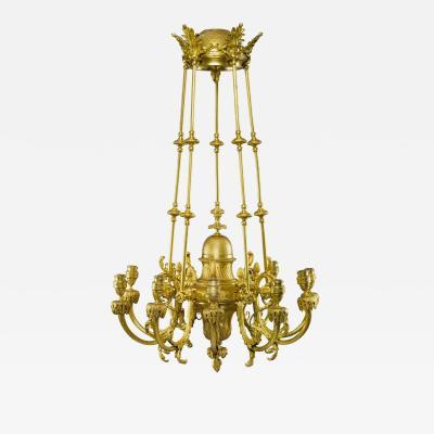 Ferdinand Barbedienne An Important French Gilt Bronze Ten Light Chandelier