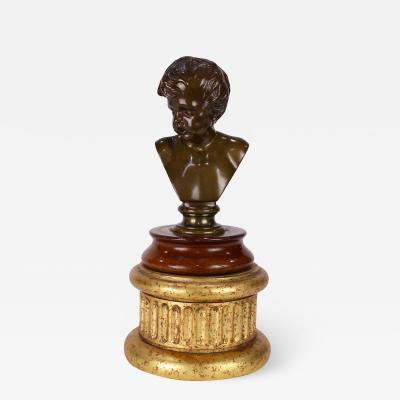Ferdinand Barbedienne Antique French Barbedienne Bronze Sculpture Bust of a Boy on a Giltwood Plinth