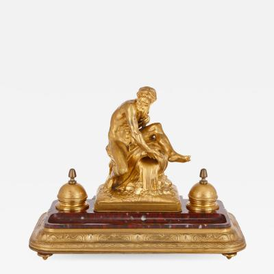 Ferdinand Barbedienne Antique red marble and gilt bronze inkstand by Barbedienne after Caffieri