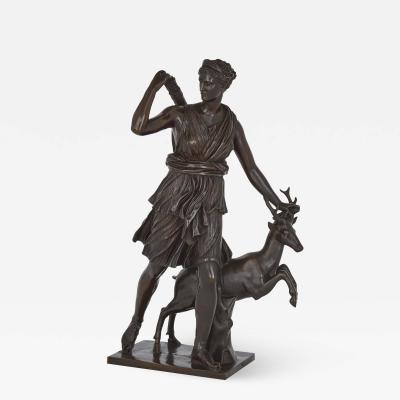Ferdinand Barbedienne Classical Patinated Bronze Sculpture of Diana by Ferdinand Barbedienne