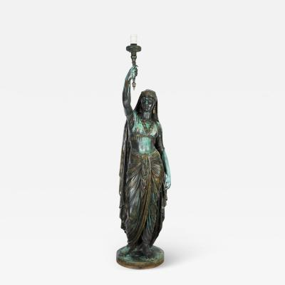 Ferdinand Barbedienne Emile Guillemin Bronze Sculpture Torchiere Lamp Femme Indienne Barbedienne