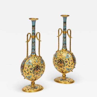 Ferdinand Barbedienne Extremely Rare Pair of Ferdinand Barbedienne Ormolu and Champleve Enamel Vases