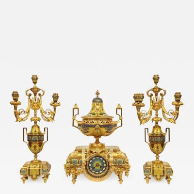 Ferdinand Barbedienne Ferdinand Barbedienne Musuem Quality French Ormolu Champleve Enamel Clock Set