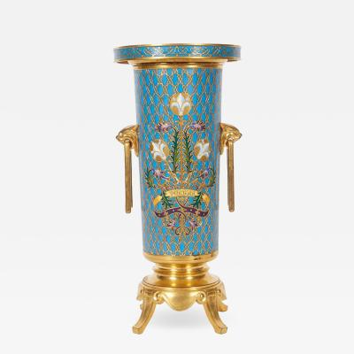 Ferdinand Barbedienne French Gilt Bronze and Champleve Cloisonne Enamel Vase by Ferdinand Barbedienne