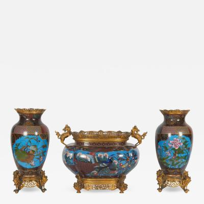Ferdinand Barbedienne French Japonisme Ormolu Mounted Japanese Cloisonn Enamel Garniture Centerpiece
