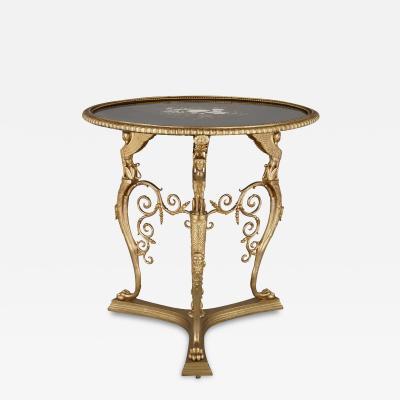 Ferdinand Barbedienne Gilt bronze and pietra dura round table by Barbedienne