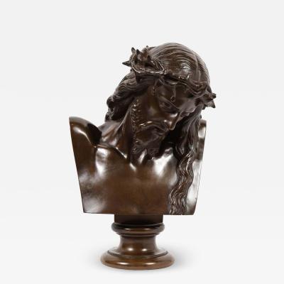 Ferdinand Barbedienne Jean Baptiste Auguste Clesinger French Bronze Bust of Jesus Christ Barbedienne
