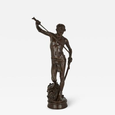Ferdinand Barbedienne Large French patinated bronze sculpture of David by Merci and Barbedienne