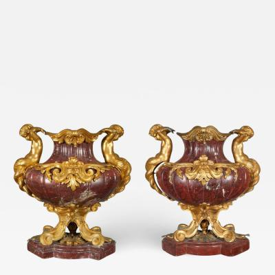 Ferdinand Barbedienne Large Pair of French Ormolu Mounted Rouge Marble Vases F Barbedienne Attributed