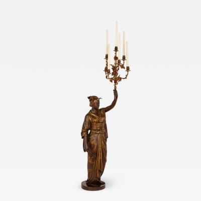 Ferdinand Barbedienne Large bronze Japanese figural lamp by Guillemin and Barbedienne