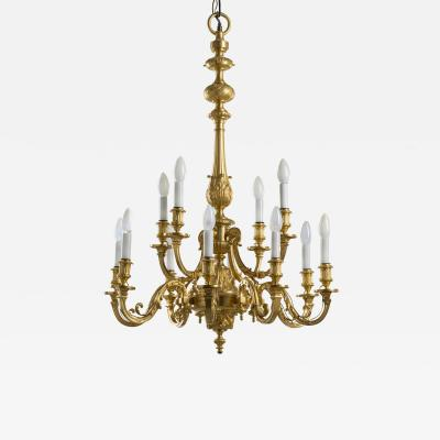 Ferdinand Barbedienne Louis XIV style gilt bronze chandelier by Ferdinand Barbedienne