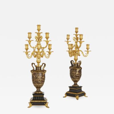 Ferdinand Barbedienne Neoclassical style marble gilt and patinated bronze candelabra by Barbedienne