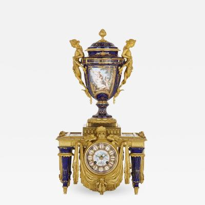 Ferdinand Barbedienne Neoclassical style porcelain and gilt bronze mantel clock by Barbedienne