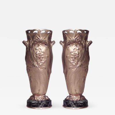 Ferdinand Barbedienne Pair of French Art Nouveau Bronze Dore Vases