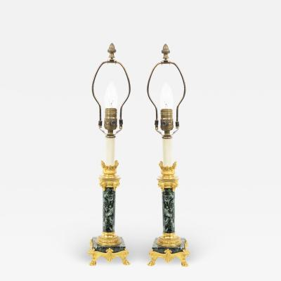 Ferdinand Barbedienne Pair of French Empire Green Marble Barbedienne Table Lamps