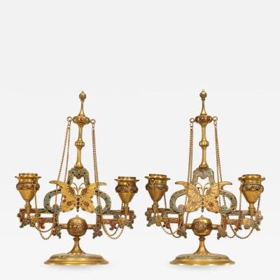 Ferdinand Barbedienne Pair of French Victorian Bronze Dore Candelabras