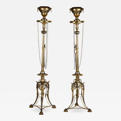 Ferdinand Barbedienne Pair of Important Neo Grec Gilt Patinated Bronze Mixed Metal Torcheres