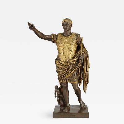 Ferdinand Barbedienne Patinated and gilt bronze figure of Caesar Augustus by Ferdinand Barbedienne
