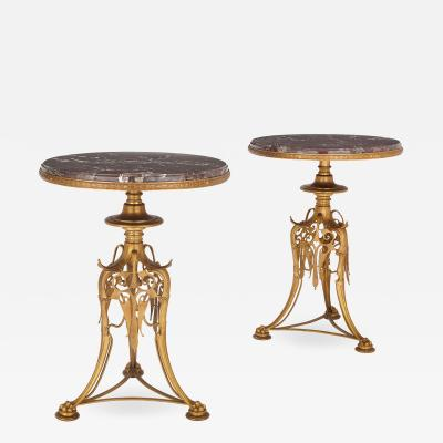 Ferdinand Barbedienne Two 19th Century gilt bronze and marble round tables by Barbedienne