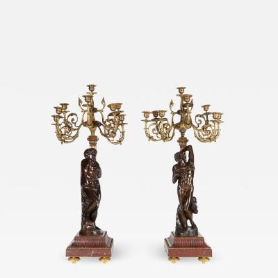 Ferdinand Barbedienne a Large Pair of French Gilt Patinated Bronze Candelabras
