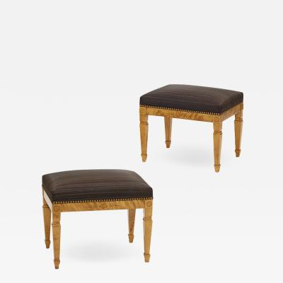 Ferdinand Boberg ExquisiteArt Nouveau Benches in Birch by Gustaf Ferdinand Boberg