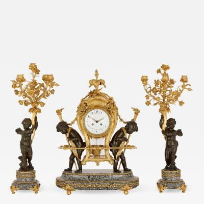 Ferdinand Gervais Antique marble patinated and gilt bronze clock set by Gervais