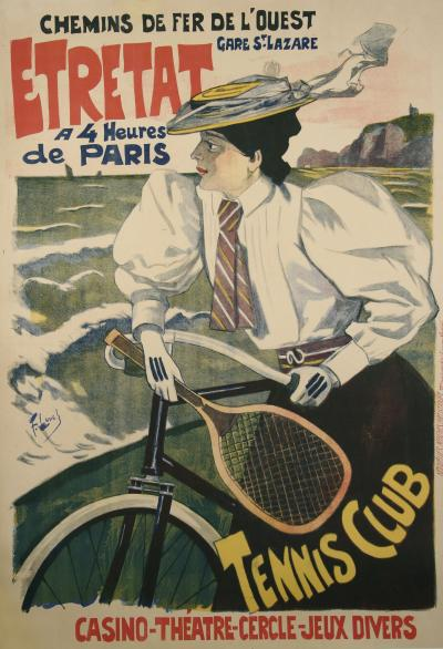 Ferdinand Lunel French Turn of the Century Tennis Club Poster by Ferdinand Lunel 1896