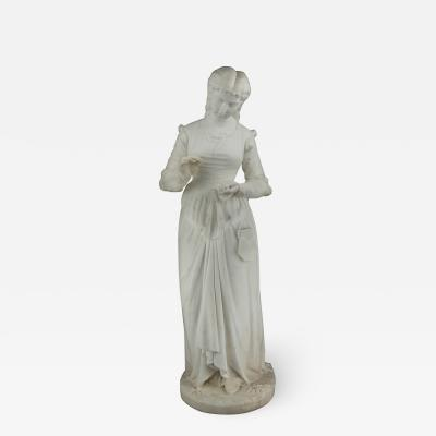 Ferdinando Andreini A Fine Italian Marble Sculpture of a Young Lady with Long Braided Hair