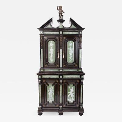 Ferdinando Pogliani A Two Part Renaissance Revival Cabinet with High Quality Enameled Copper
