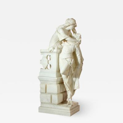 Ferdinando Vichi Highly Significant Italian Alabaster Sculpture of Romeo and Juliet