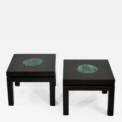 Fernand Dresse Pair of machete lacquer side tables