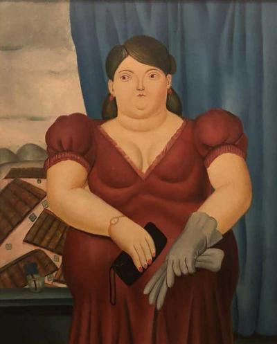 Fernando Botero Female Portrait Oil on Canvas Painting in the manner to Fernando Botero