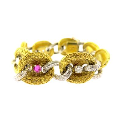Fiessler Ruby and Diamond Gold Bracelet