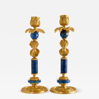 Figural Candlesticks Gilt Bronze Ormolu Lapis Lazuli 19th 20th C