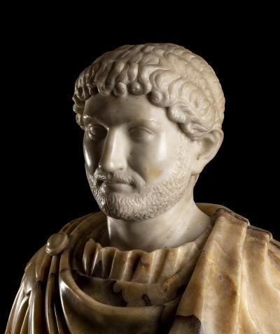 Figurative Marble Sculpture Portrait Bust Roman Emperor Hadrian Grand Tour Style