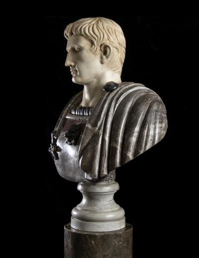Figurative Sculpture Marble Polychrome Portrait Bust of Roman Emperor Augustus