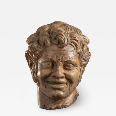 Figurative Sculpture Terracotta Head of a Laughing Satyr Roman Academy 19th