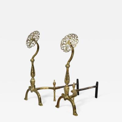 Filigree Brass Andirons