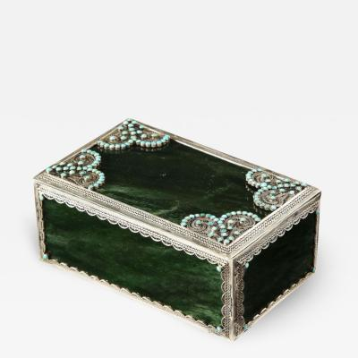 Filigree Sterling Silver Mounted Nephrite and Turquoise Rectangular Table Box